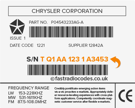 Chrysler Radio Code Serial Number Label
