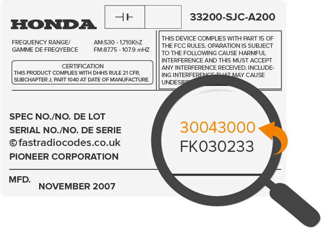 Find honda radio code serial number