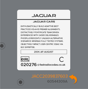 Jaguar Radio Code Serial Number