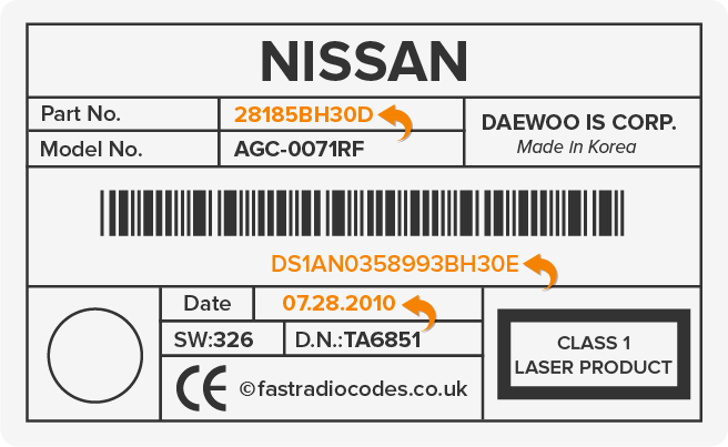 Nissan Daewoo Radio Code Serial Label | DW | DS | HY