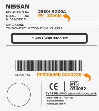 Nissan Clarion Radio Code Serial Label | CL | PN | PP