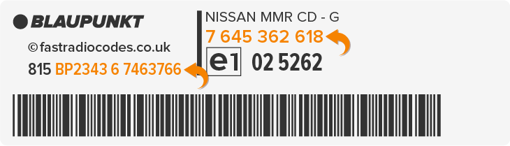 find nissan blaupunkt radio serial number