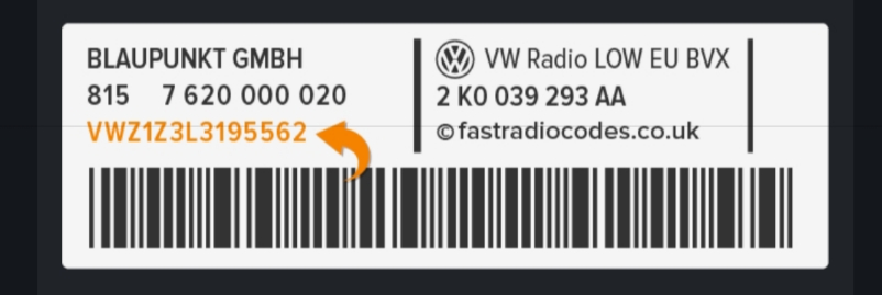 VW Polo Radio Code Serial Number Label | VWZ | Volkswagen